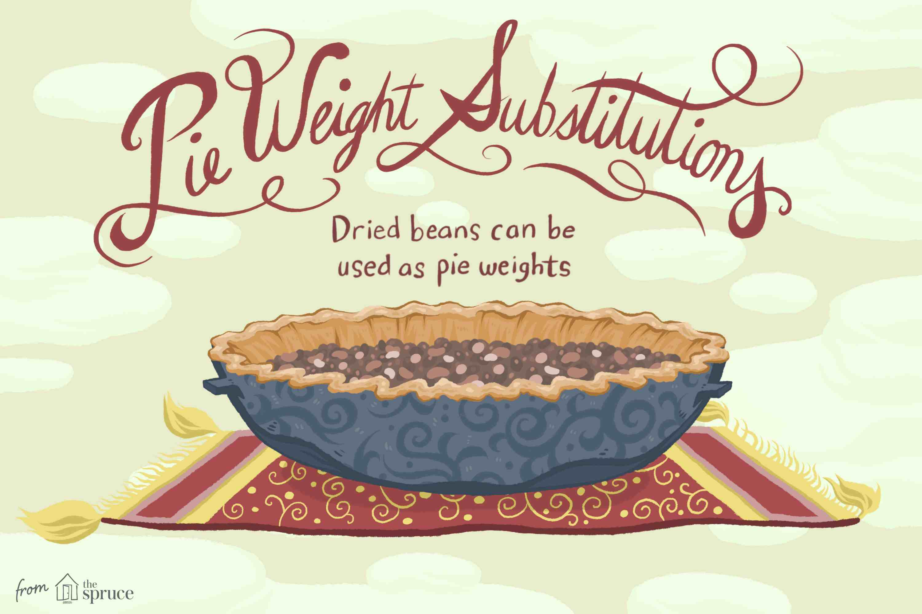 Illustration showing dried beans used as pie weights.