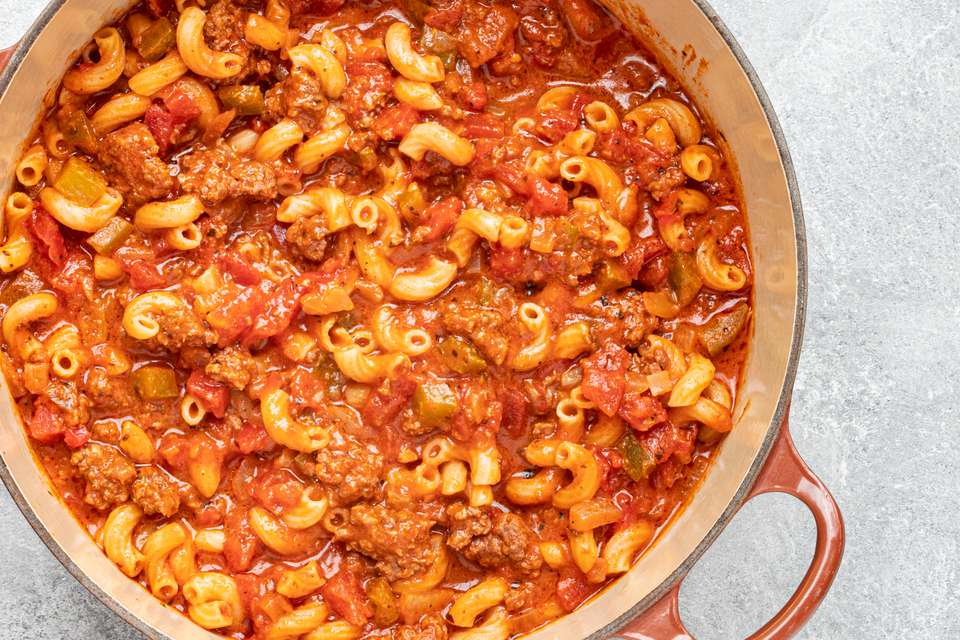 pot of homemade american style goulash with ground beef and macaroni