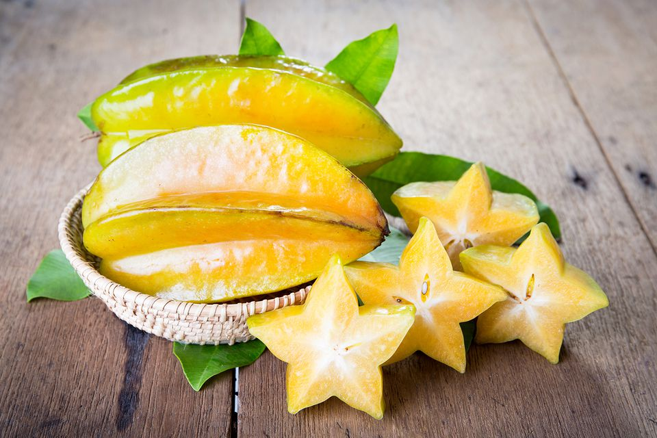 Star fruit on wood background