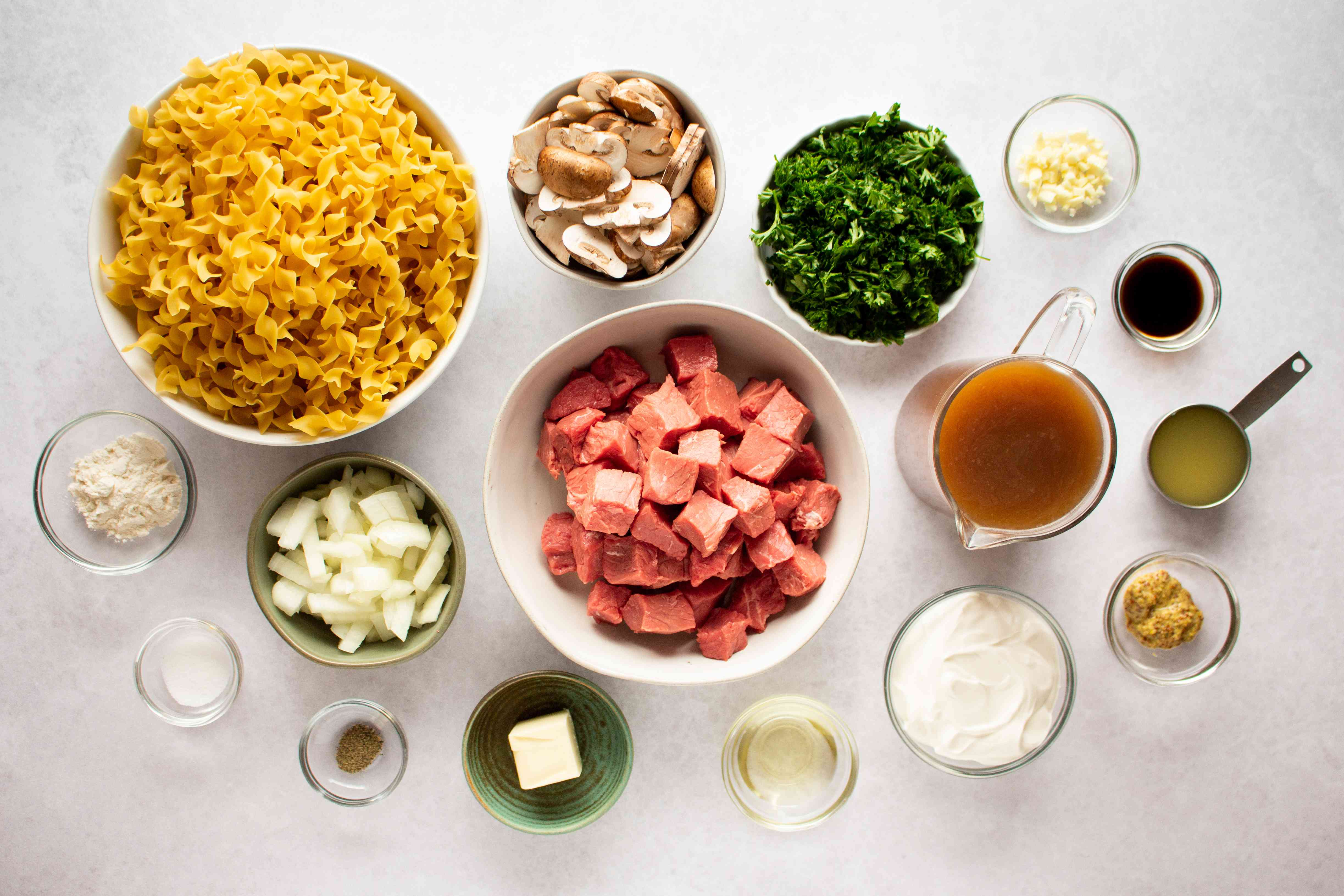 Instant Pot Beef Stroganoff ingredients