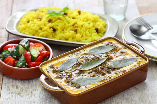 Bobotie and yellow rice, South African cuisine