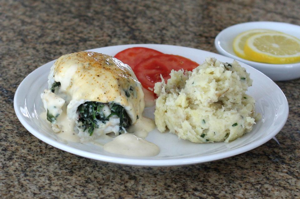 Flounder with Spinach Stuffing