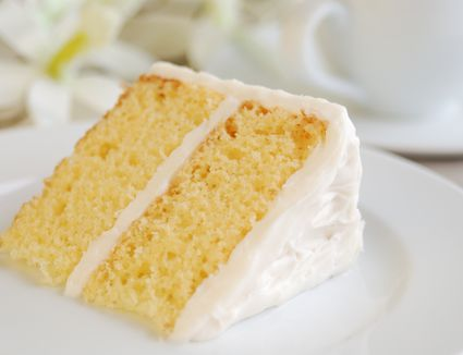 Piece of Yellow Cake with Vanilla Frosting on plate