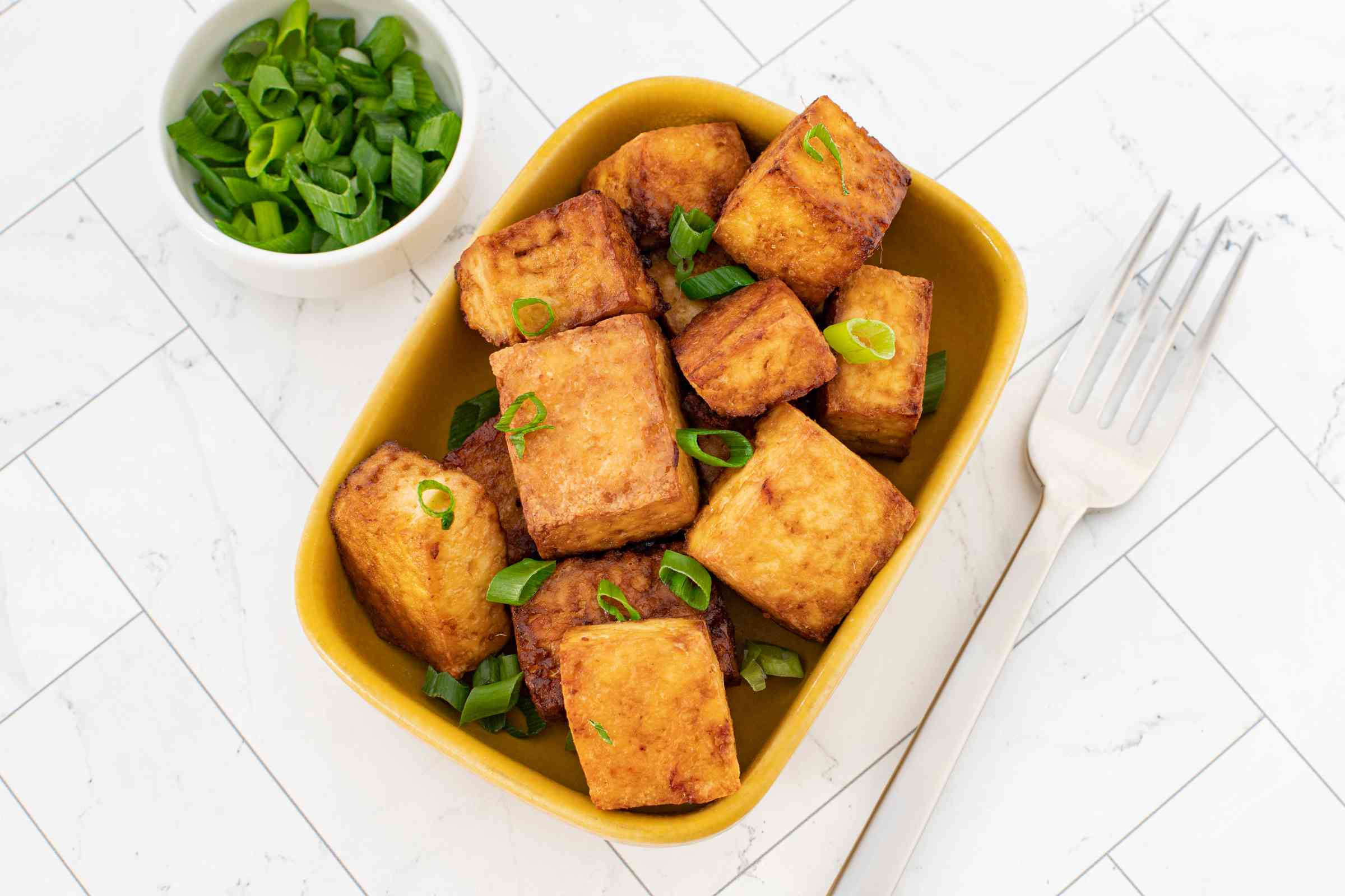 Air fryer tofu in a small serving dish