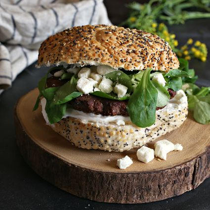 Middle Eastern Spiced Lamb Burgers with Feta and Labneh