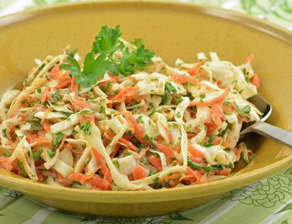 Coleslaw in yellow bowl
