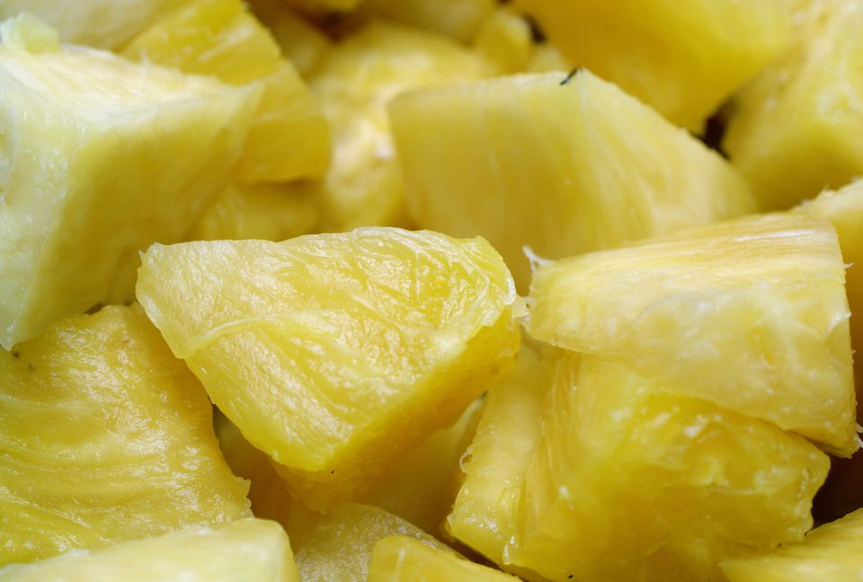 Background Chunks of tropical pineapple fruit
