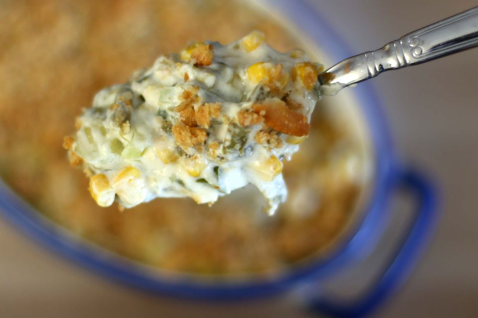 Corn casserole with green beans, sour cream, and ritz cracker topping