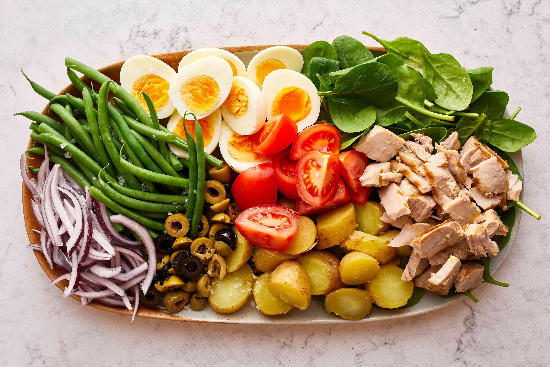 Nicoise salad arranged on platter