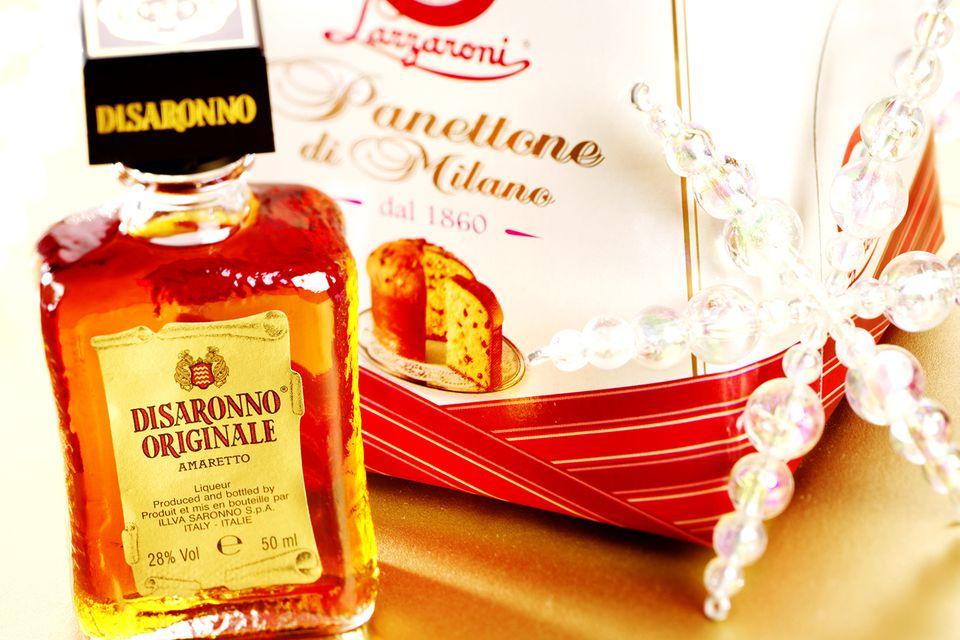 Panettone and bottle of Disaronno amaretto liqueur