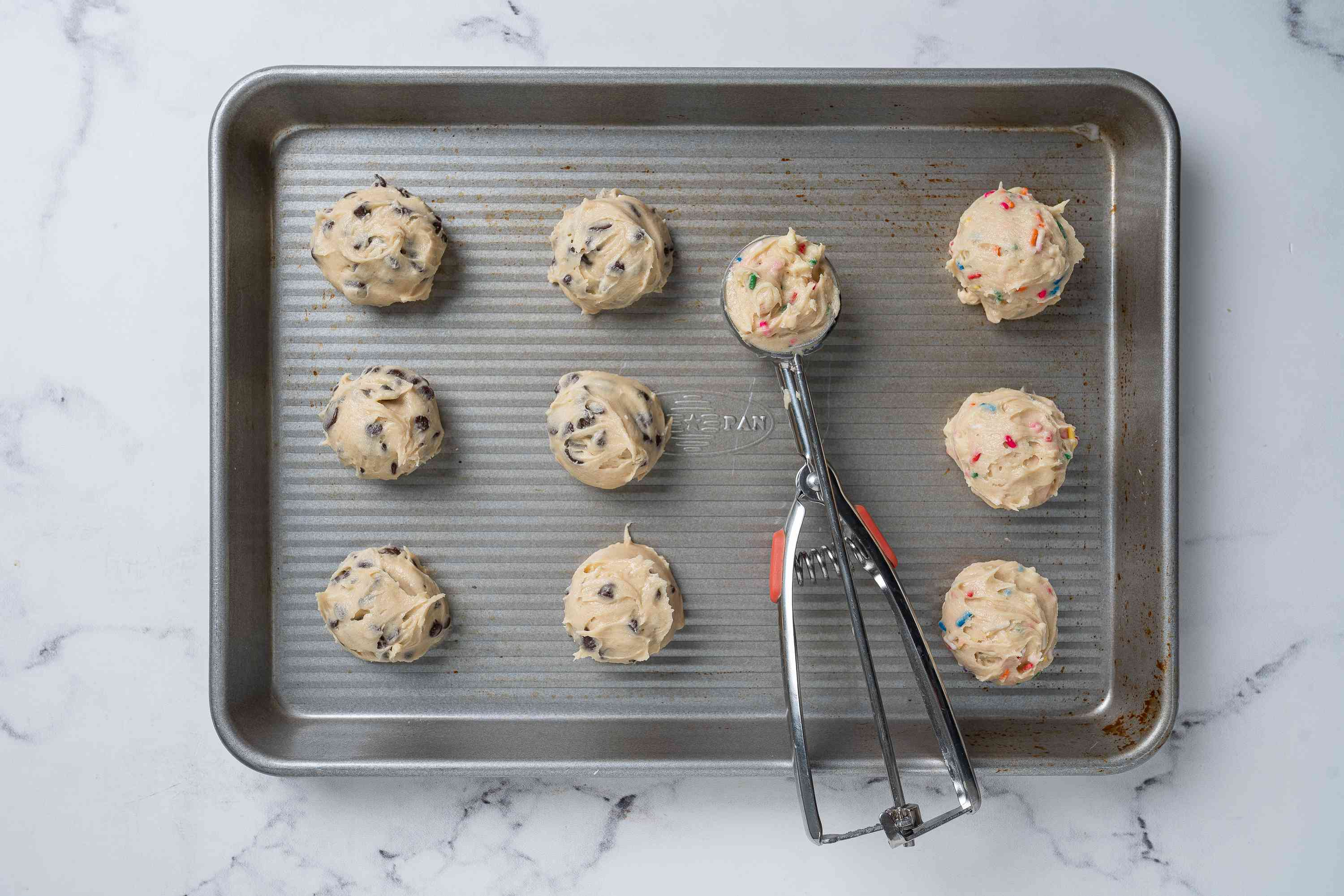 Edible Cookie Dough portioned on a cookie sheet