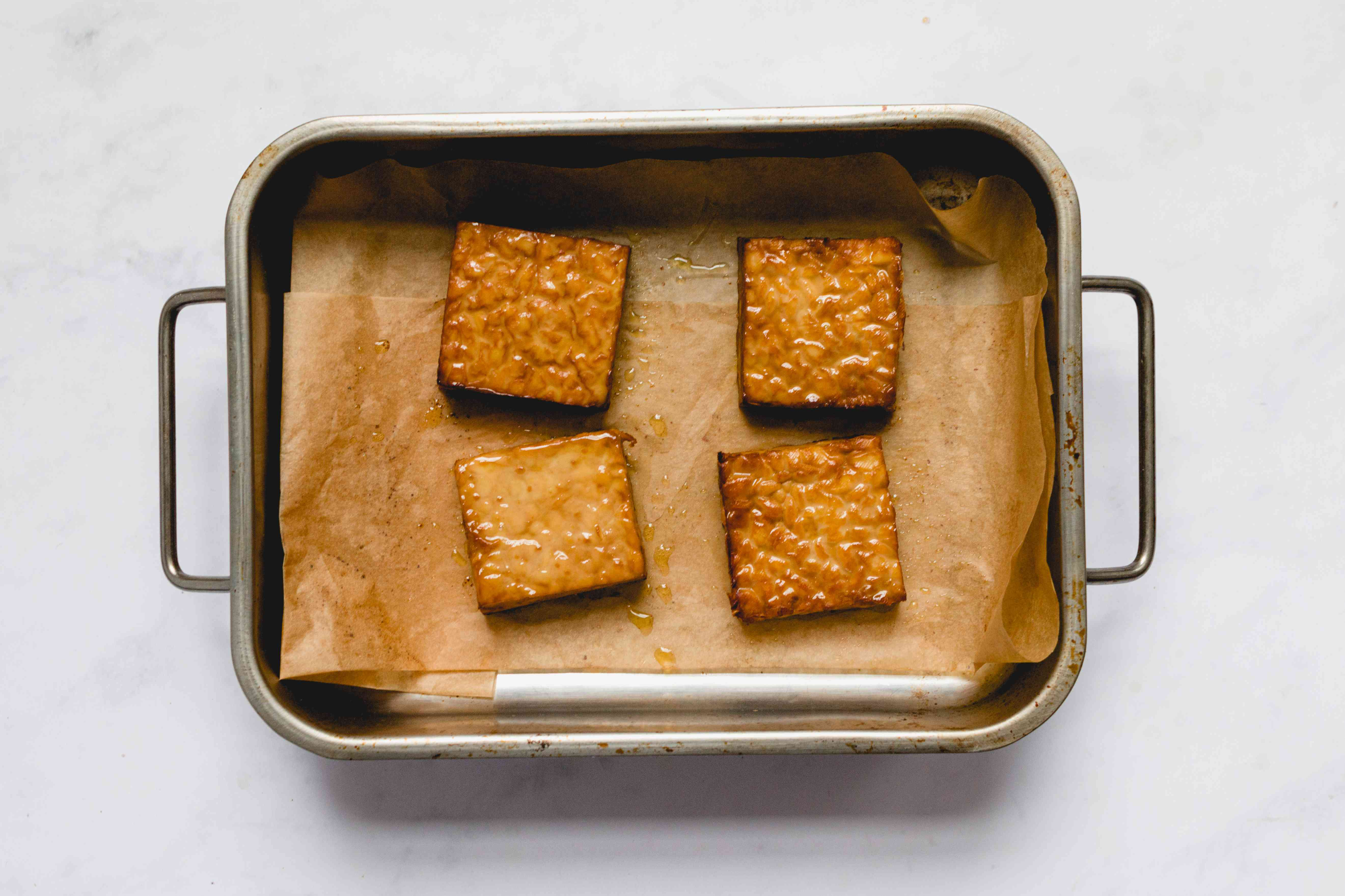 baked tempeh in a baking dish