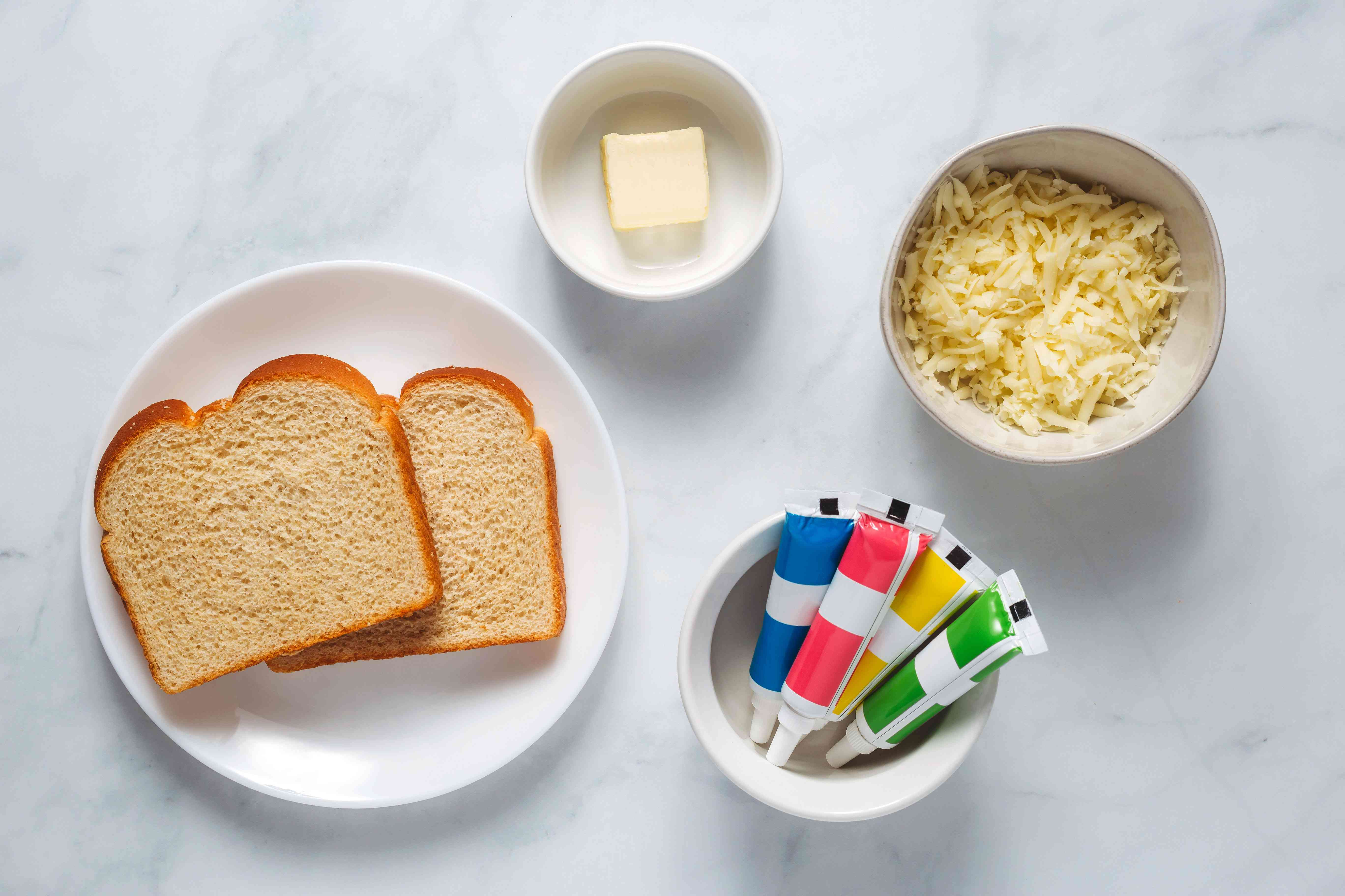 ingredients for rainbow grilled cheese