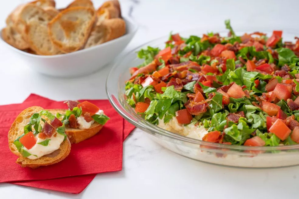 BLT dip with toasted baguette