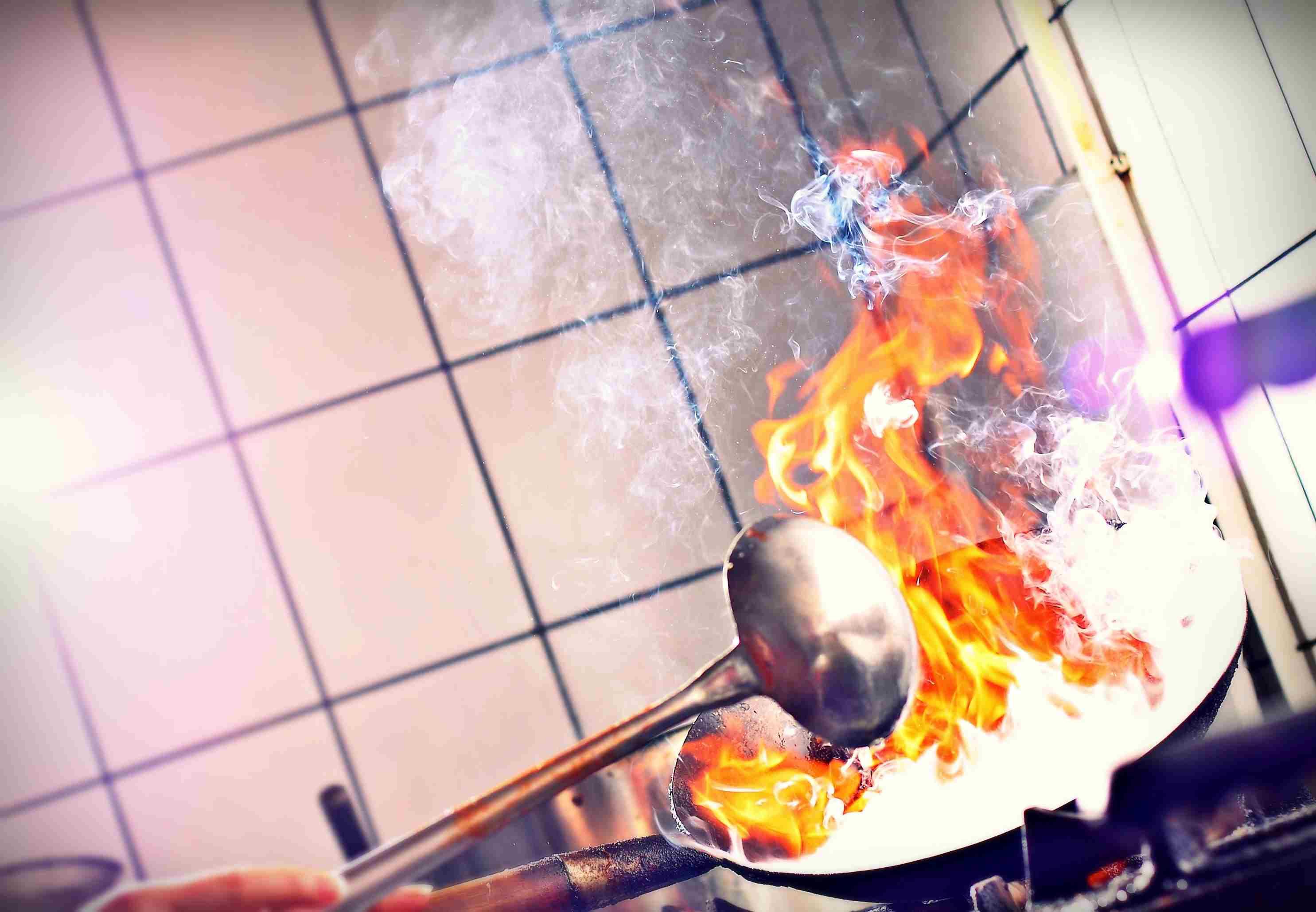 Fire burning in frying pan
