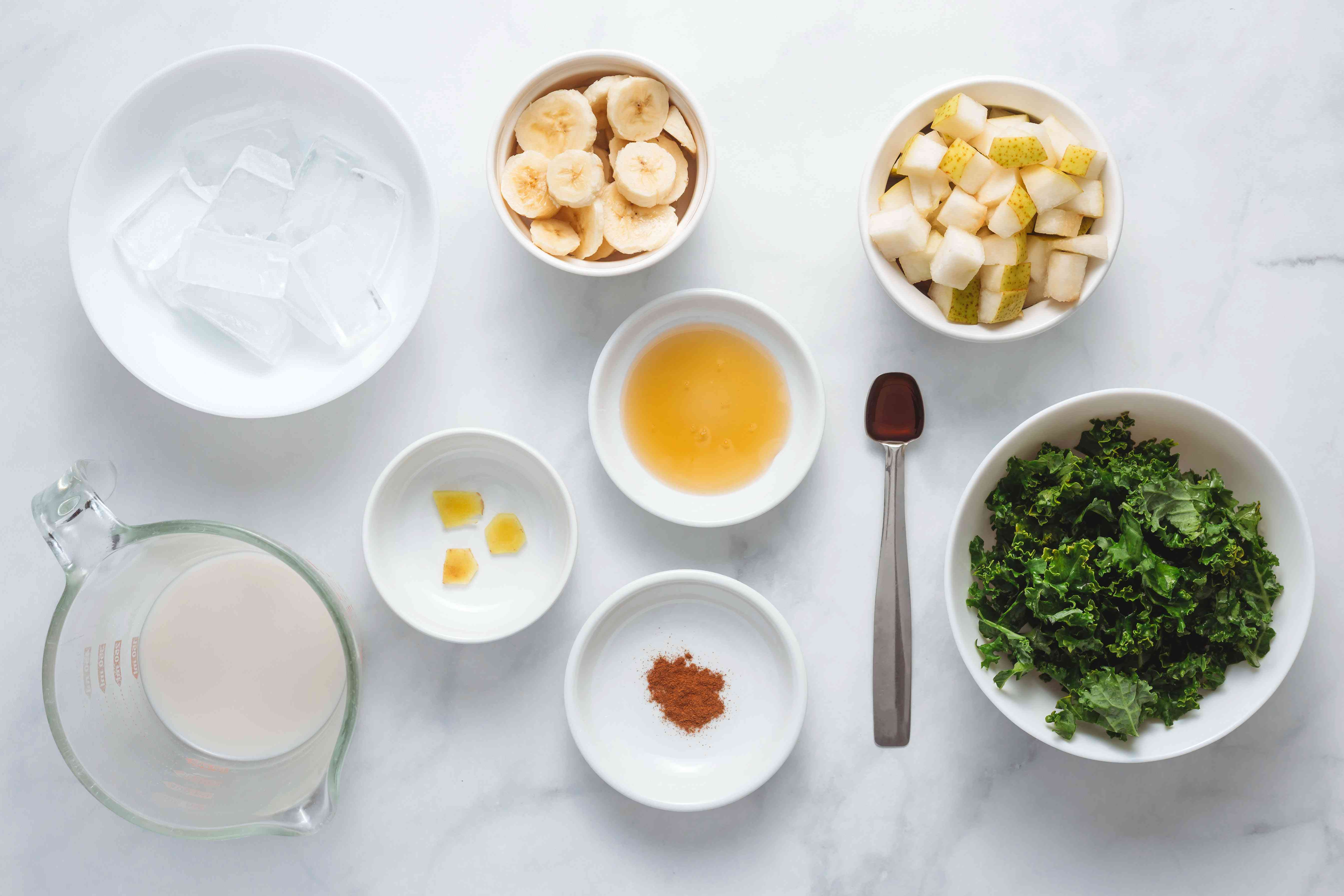 Ingredients for a green pear smoothie