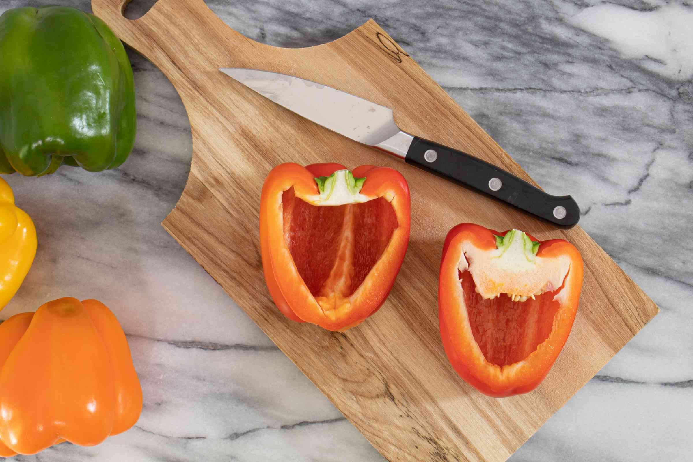 slice the peppers and remove the seeds