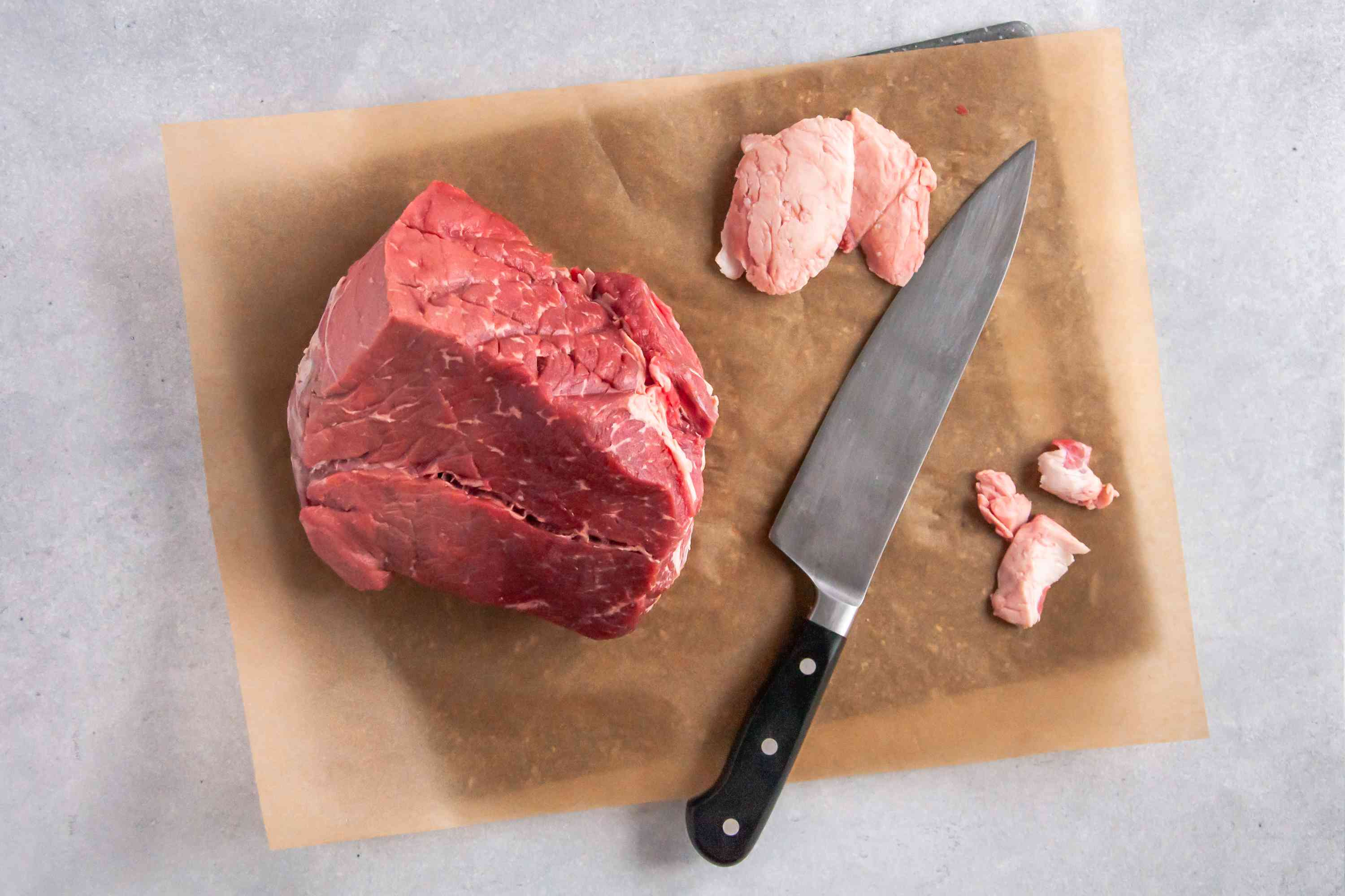 Trim all of the fat off of the meat