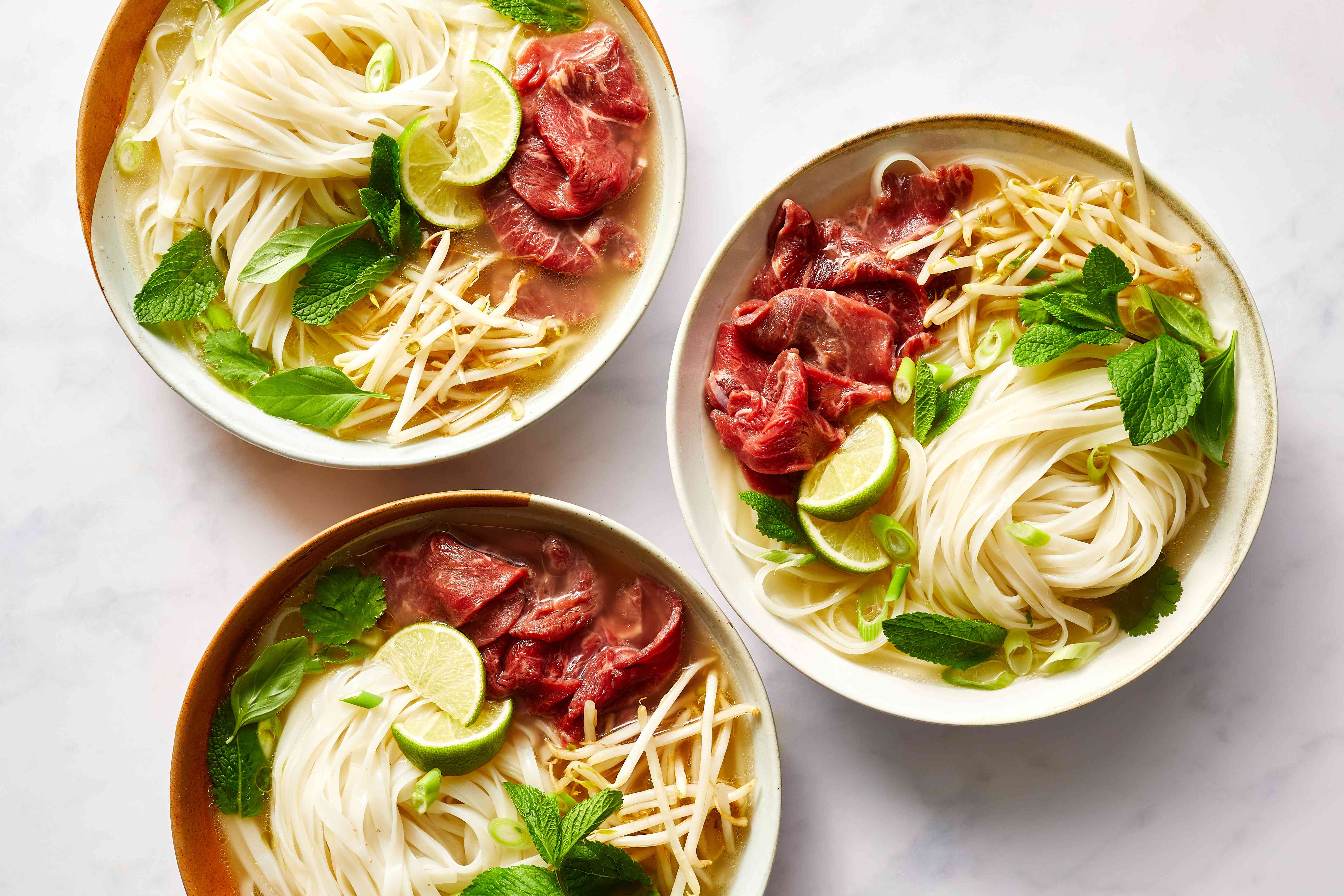 Homecooked Beef Pho in bowls
