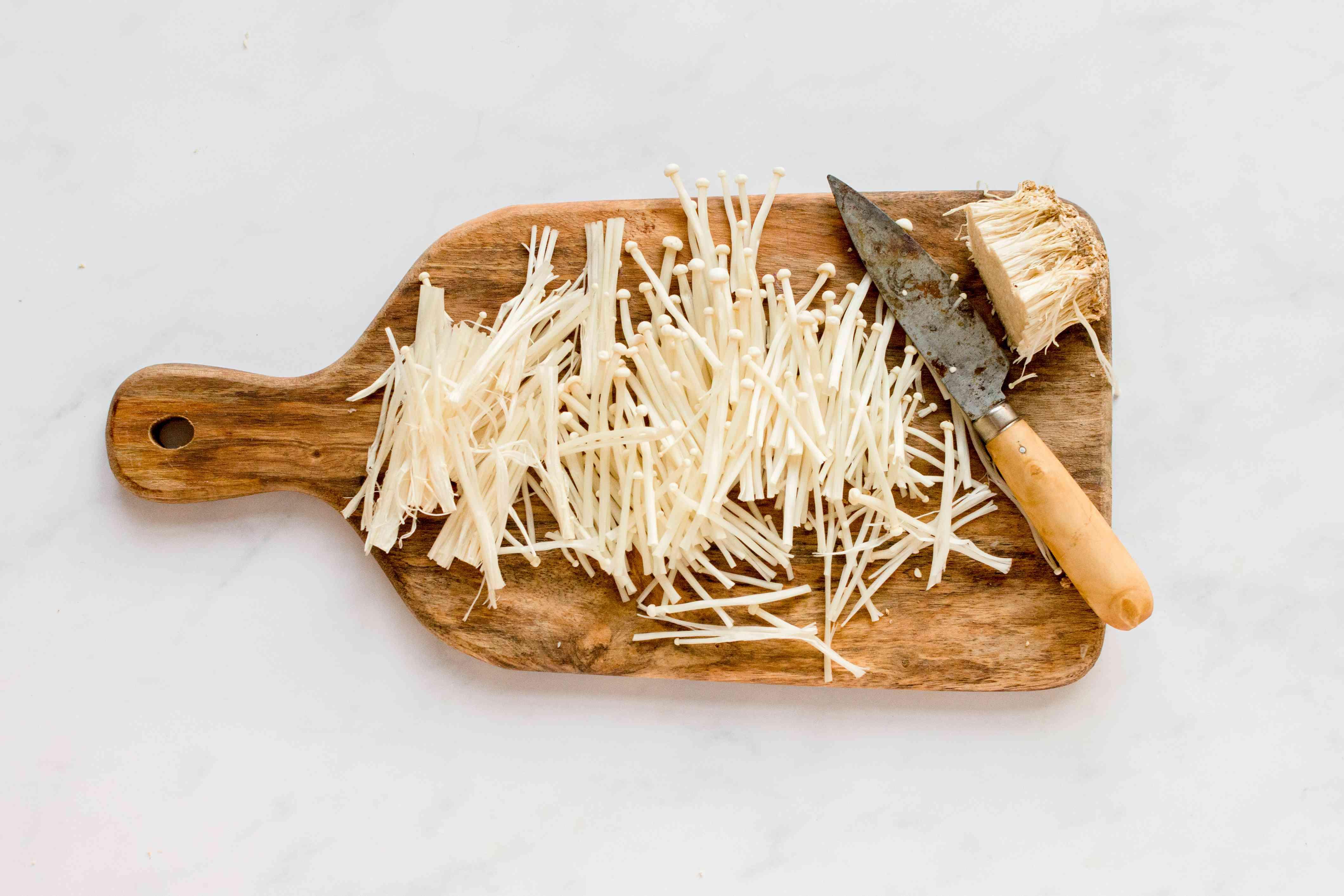 enoki mushrooms cut into pieces