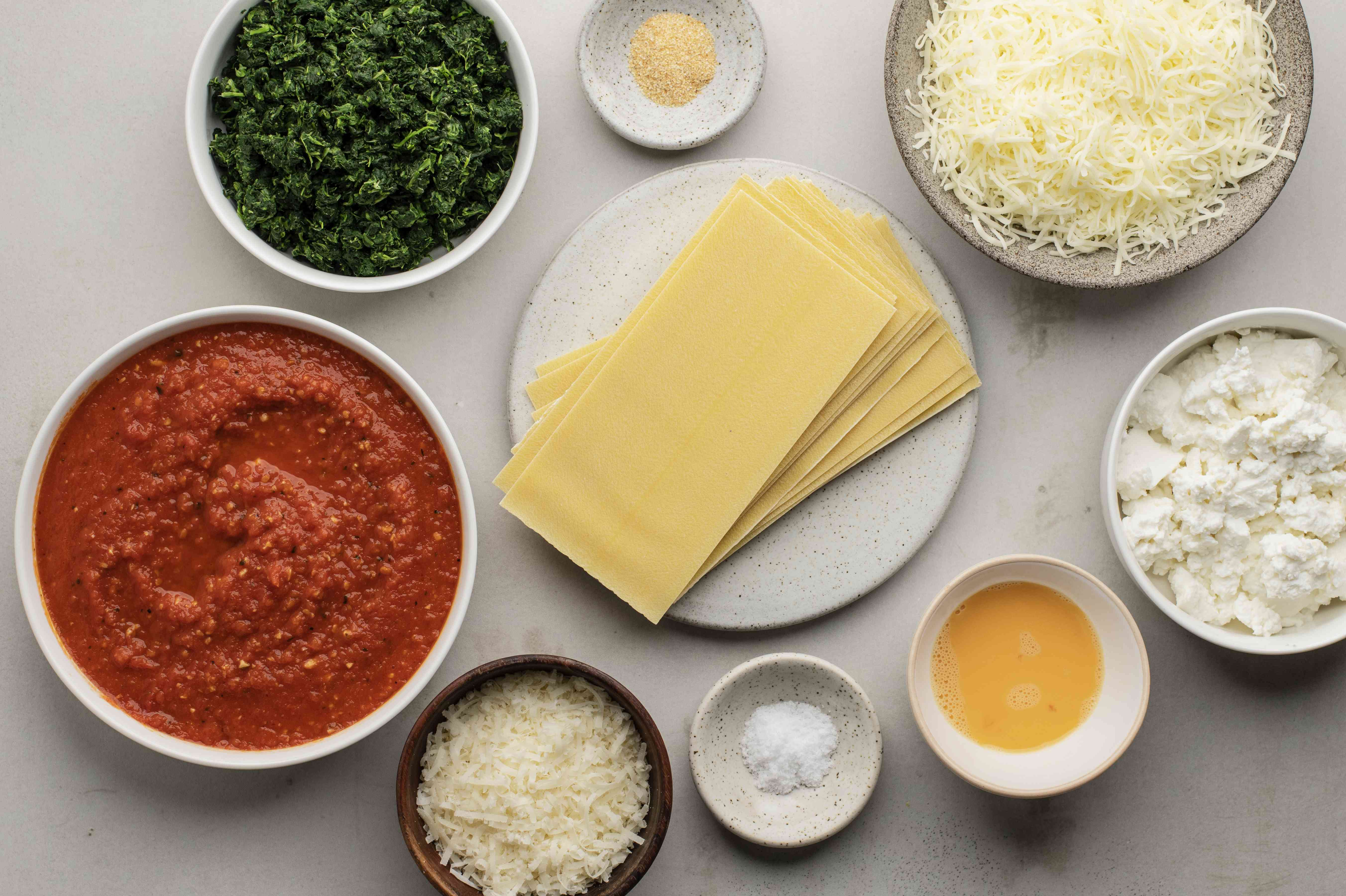 Ingredients for perfect spinach lasagna