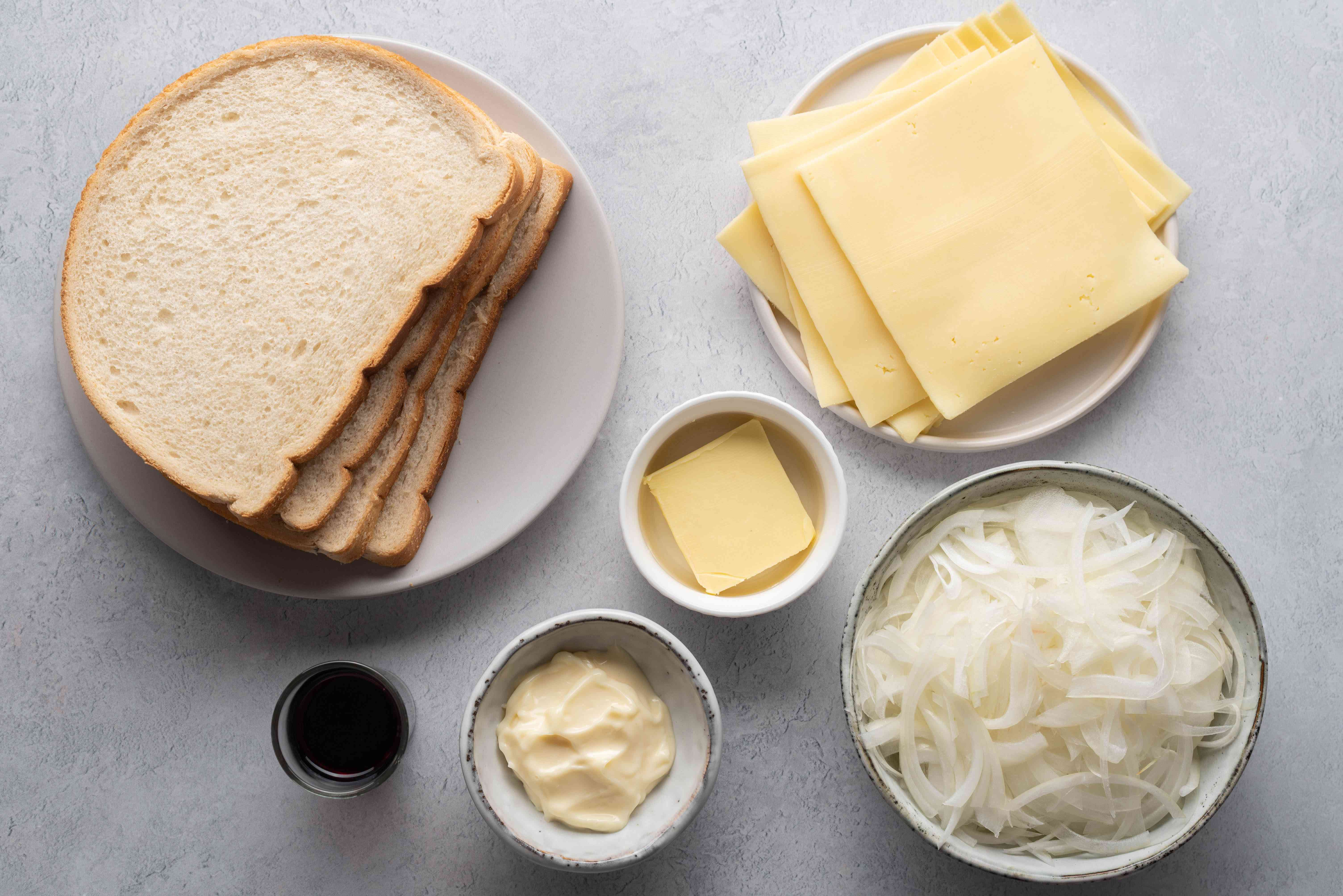 french onion soup grilled cheese ingredients gathered