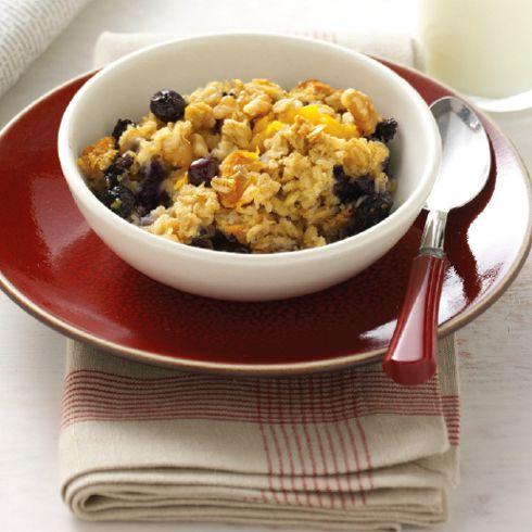 baked oatmeal recipe, blueberry, peaches, blueberries, breakfast, receipts, porridge