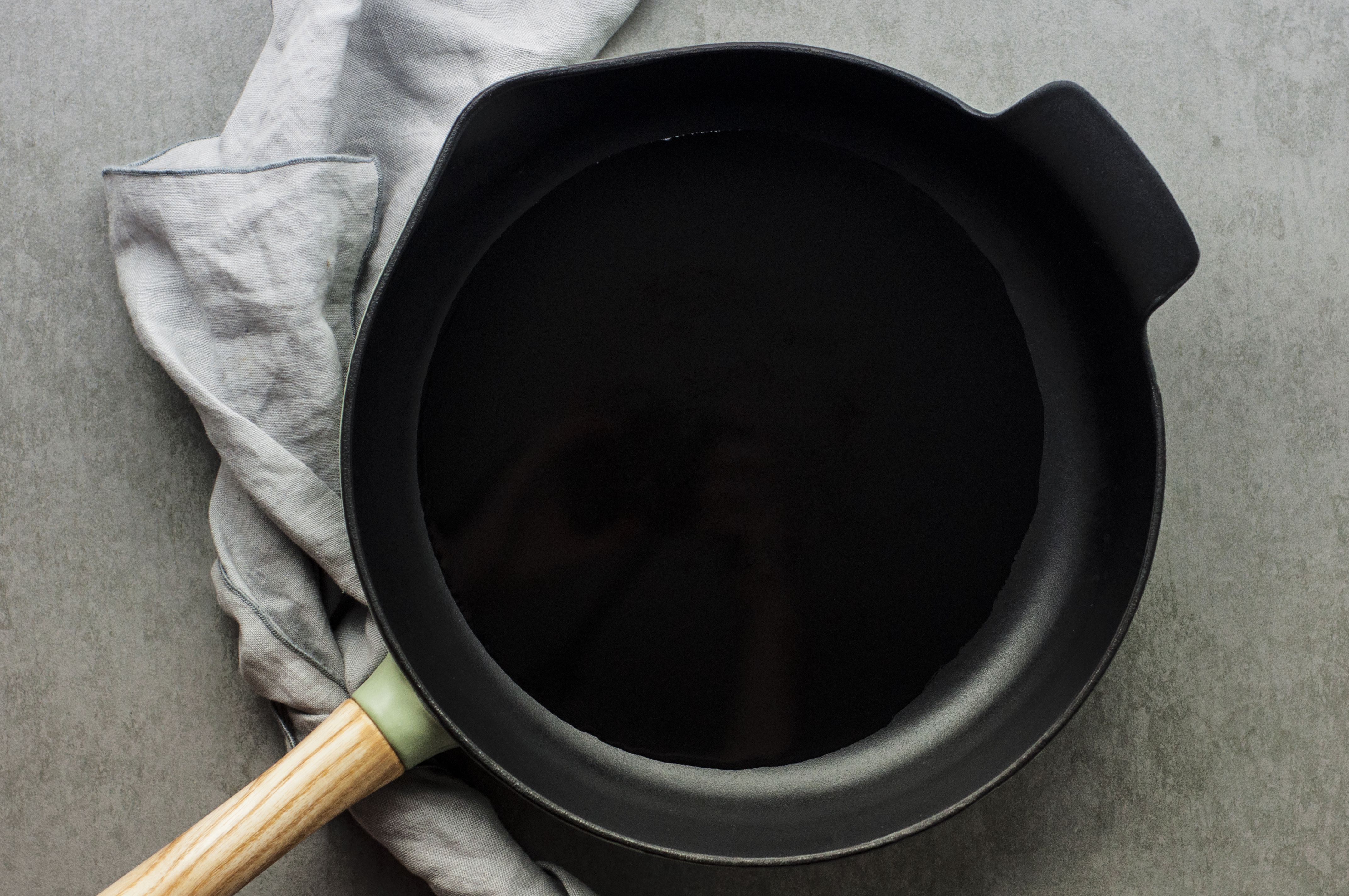 Oil heating in a skillet