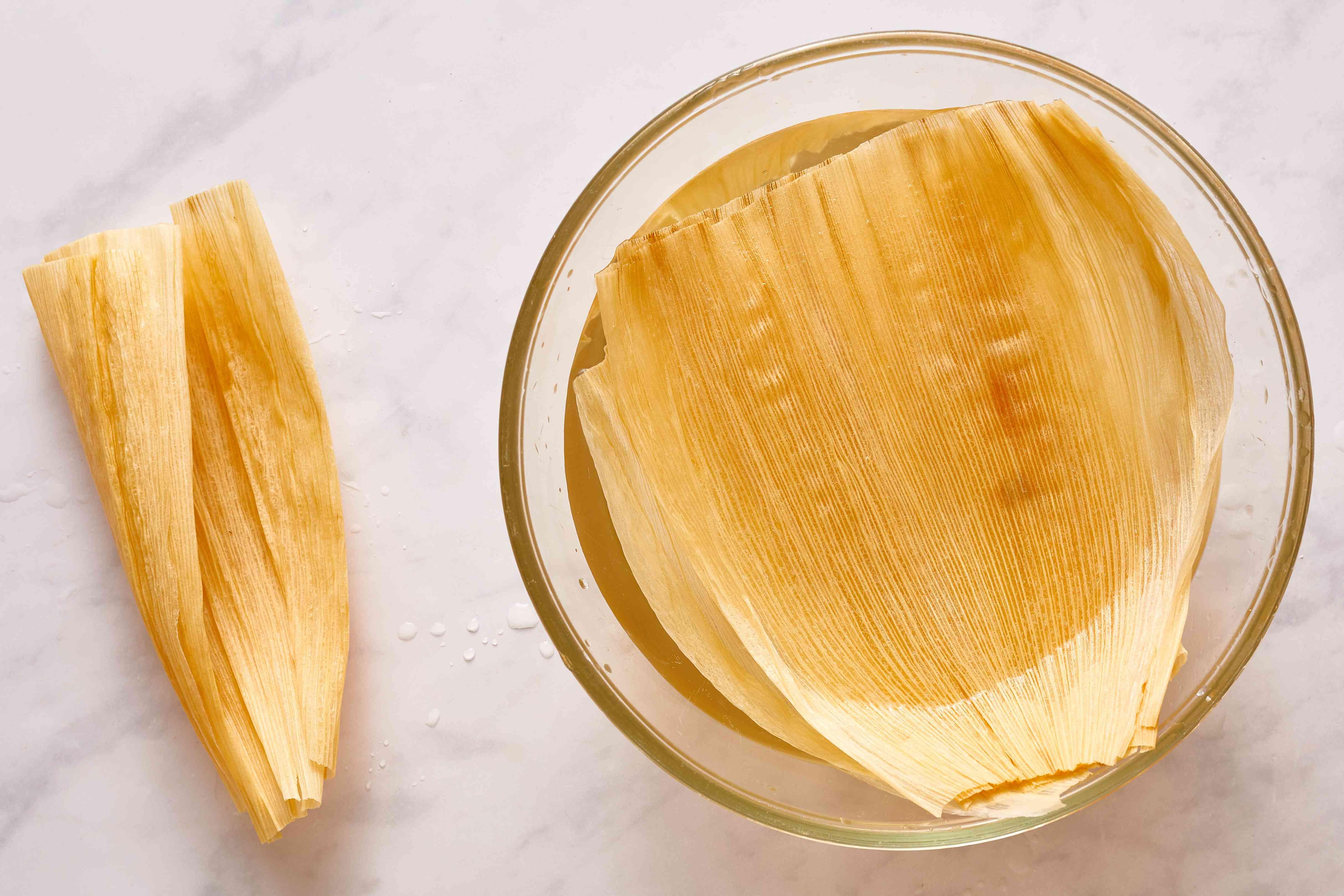 corn husks in water