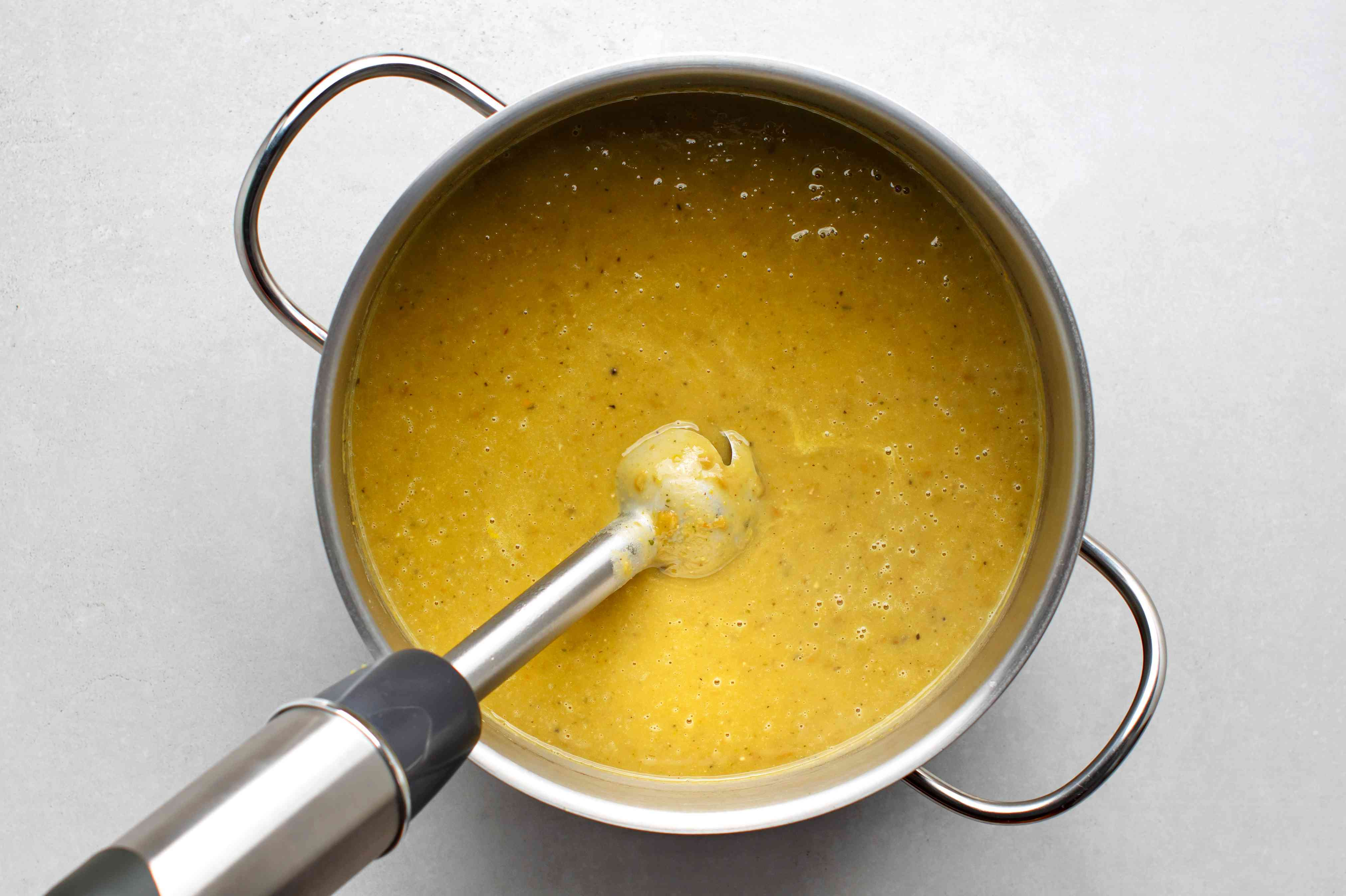 blend the Split Pea Lentil Soup using an immersion blender