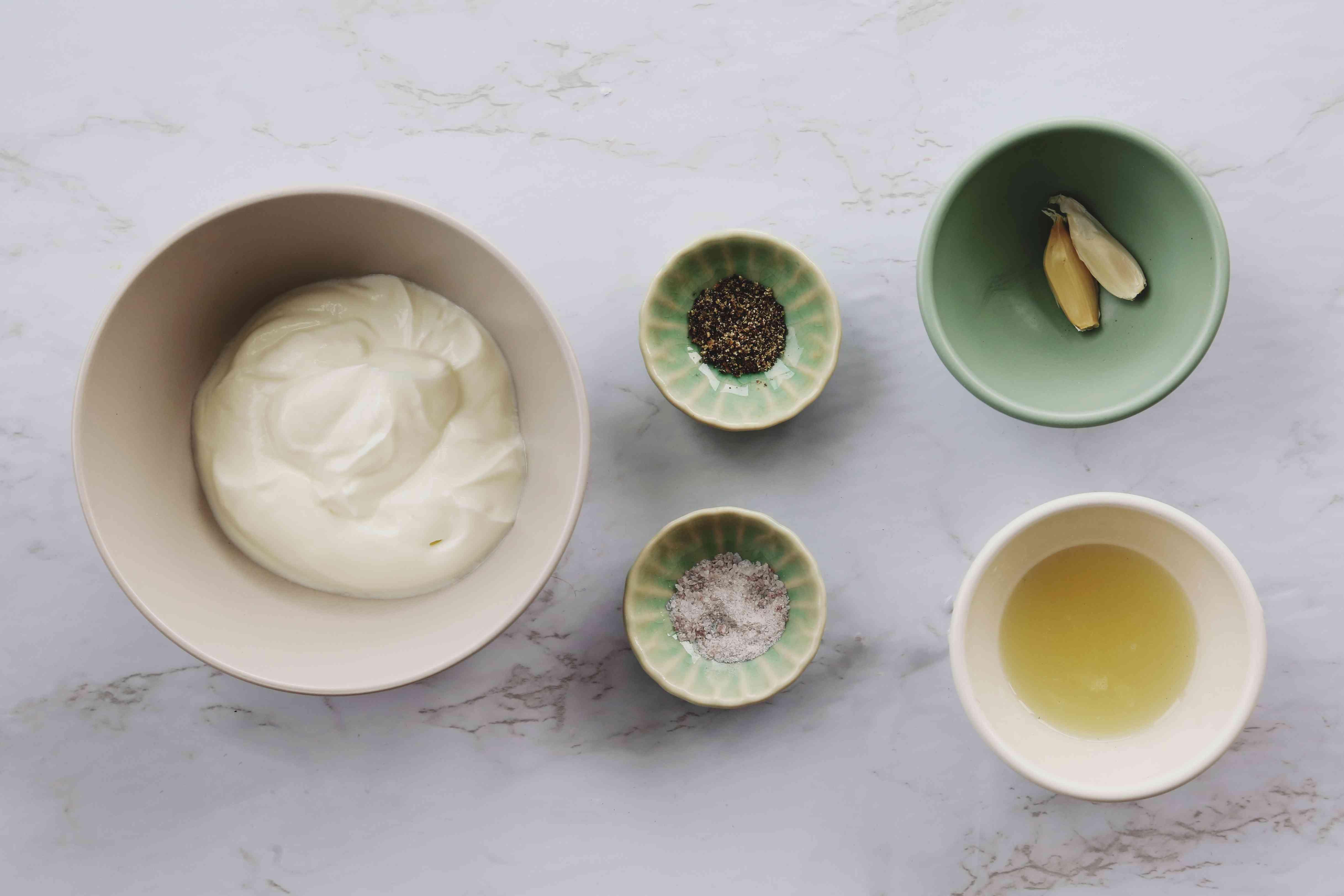 Garlic Yogurt Salad Dressing ingredients