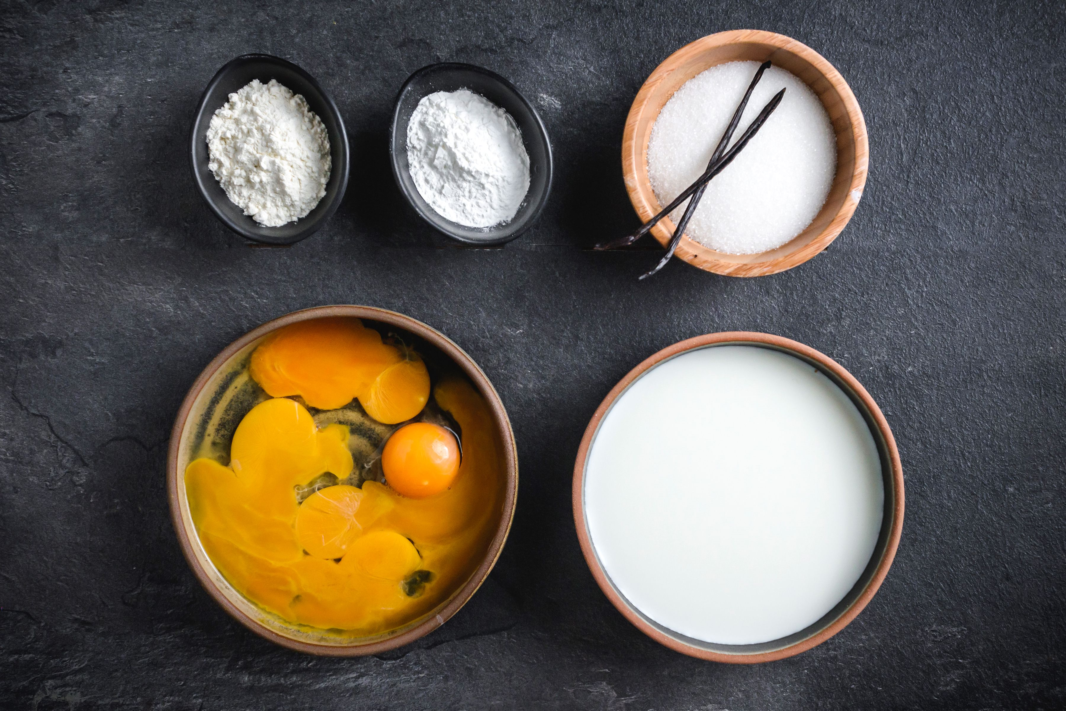 Ingredients for creme patissiere pastry cream
