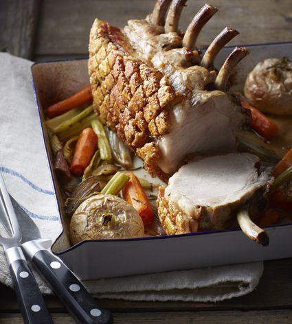 Pork Rib Roast in pan with vegetables.