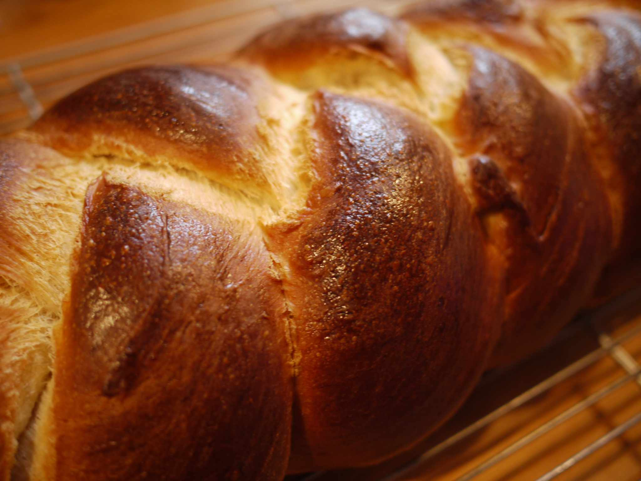A closeup of challah bread