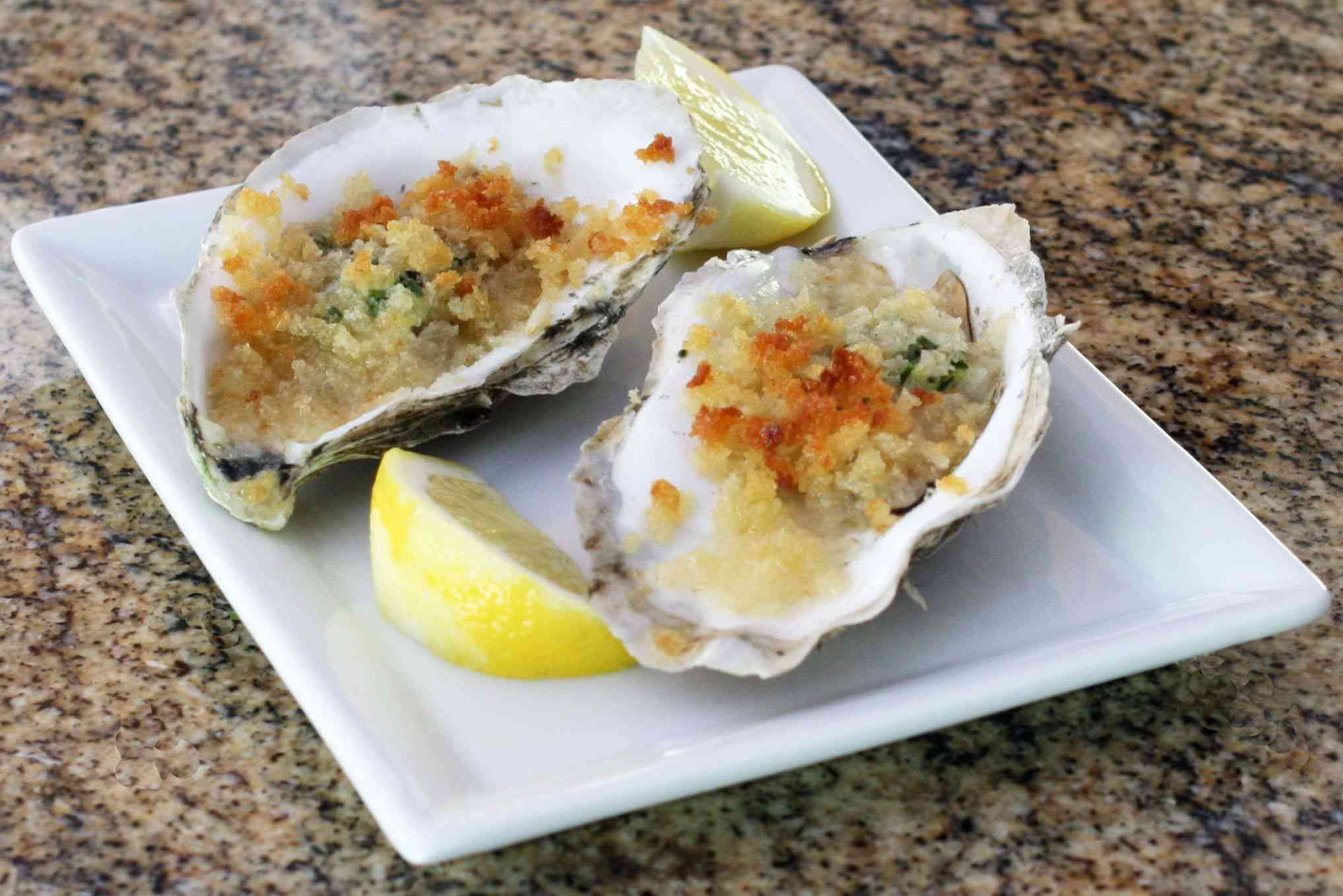 Baked butter and herb oysters