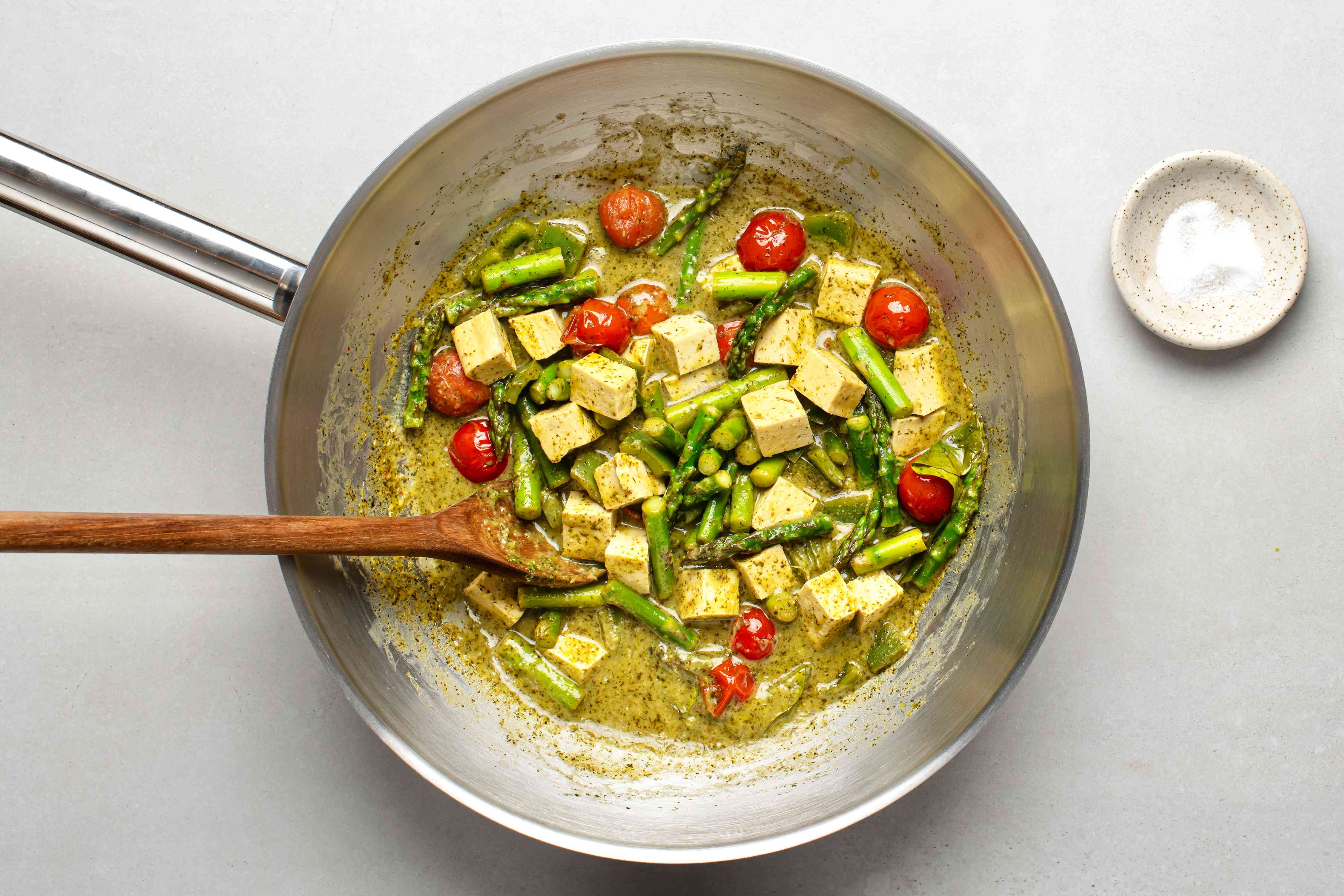 Green Thai curry removed from the heat