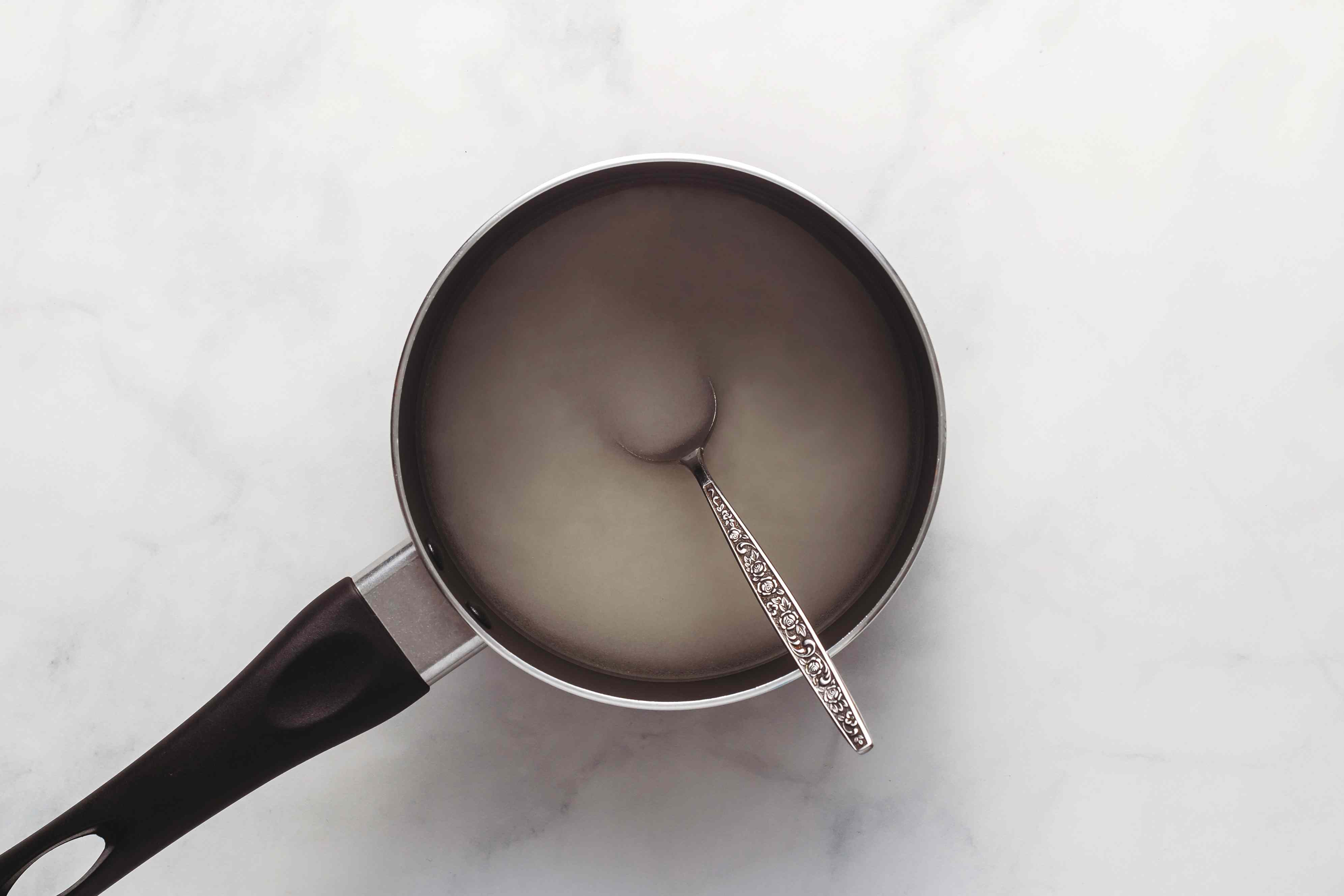 sugar and water mixture in a saucepan