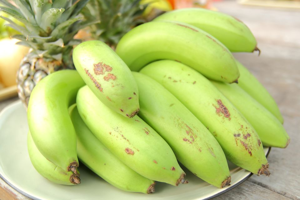 A close-up of plated bananas on a table