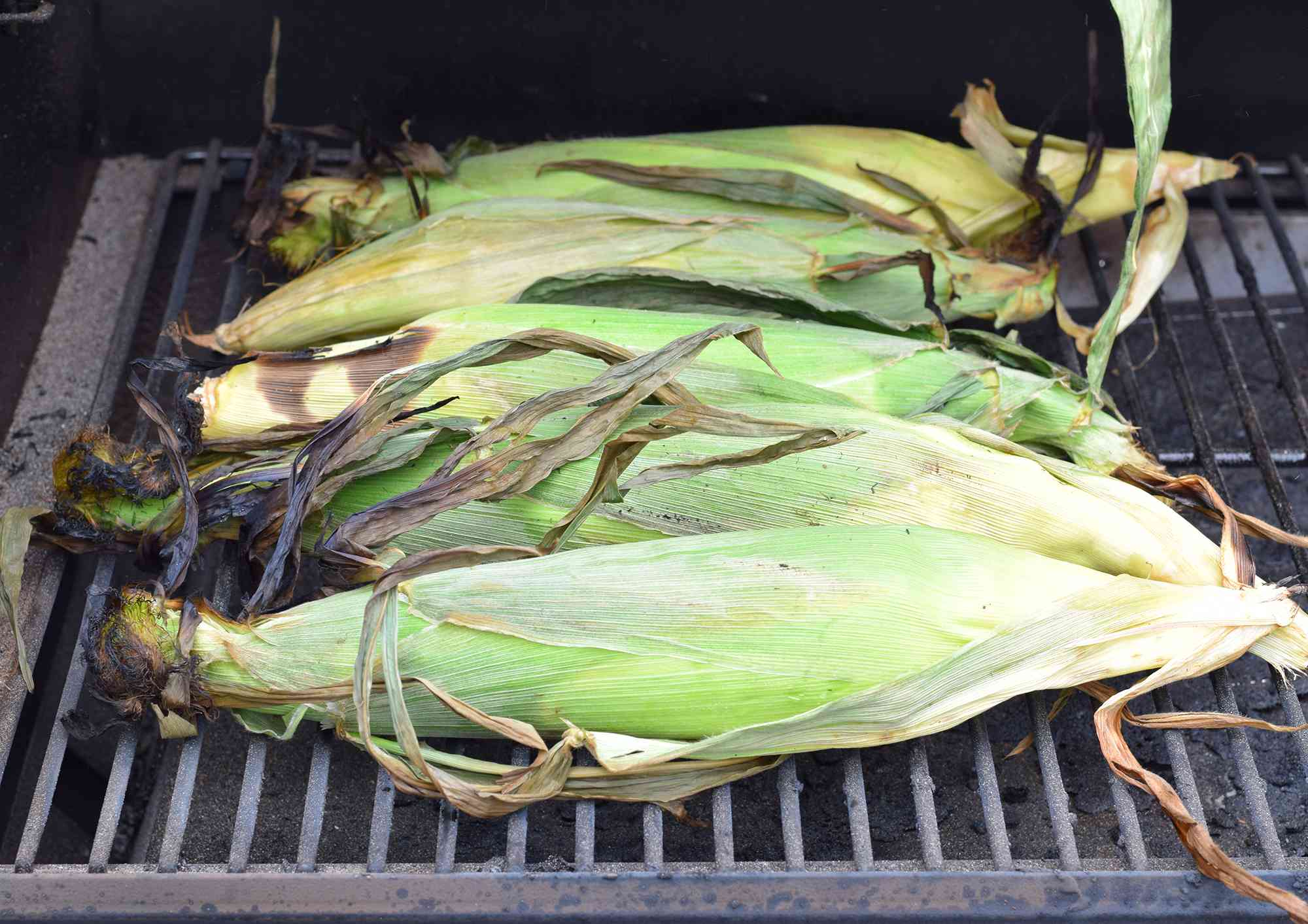 grilled corn with the husks on