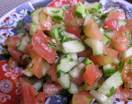Moroccan chopped cucumber and tomato salad