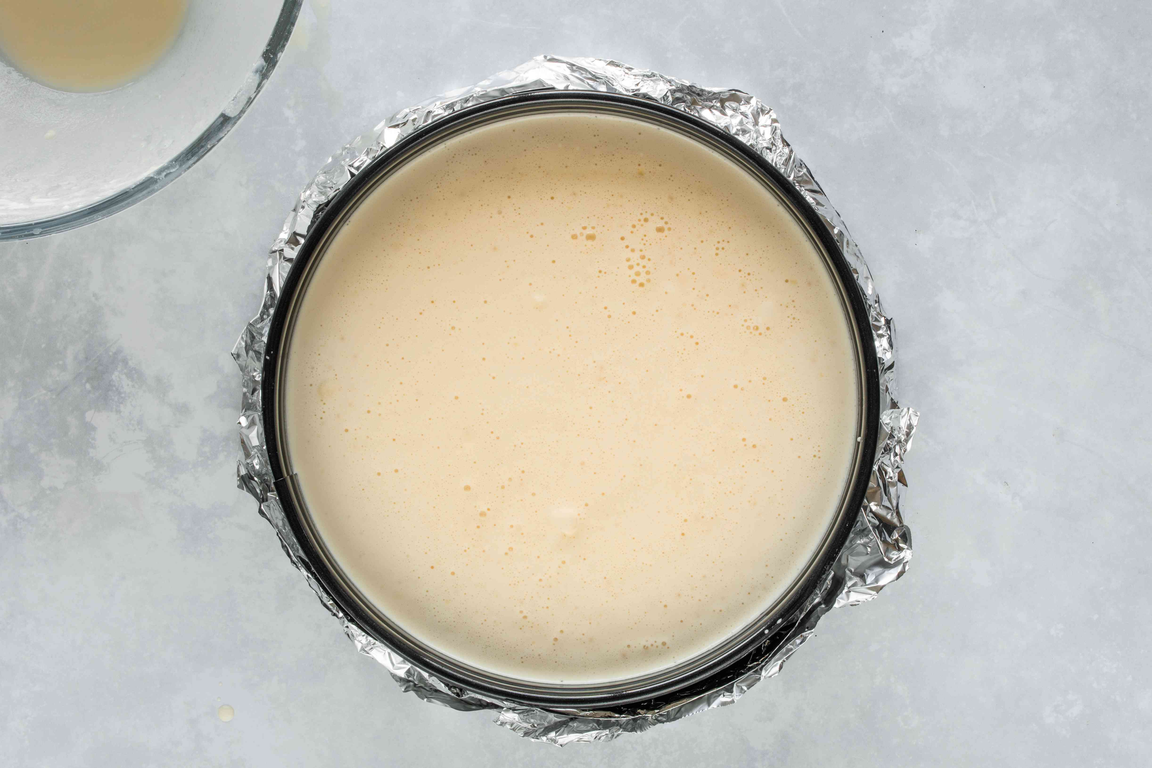 Pour in the cream cheese filling