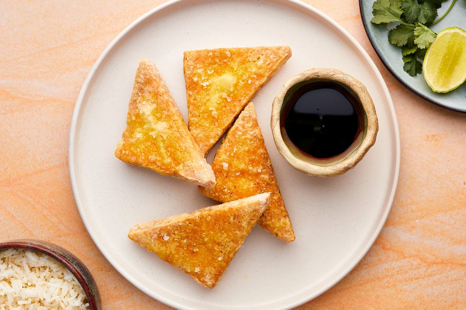 Deep-Fried Tofu with soy sauce on a plate