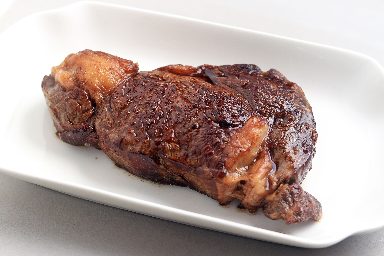 Resting ribeye steak.