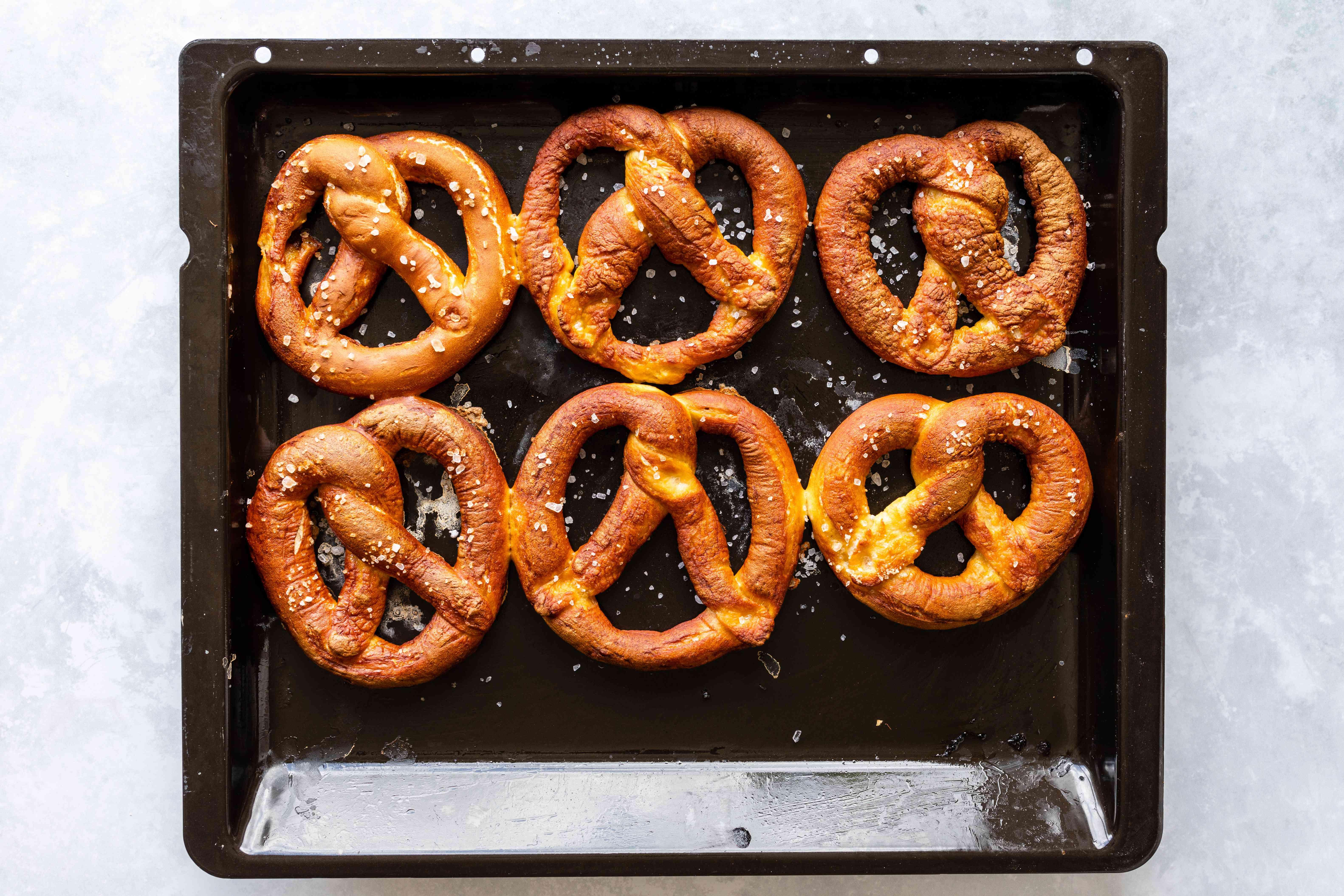Baked pretzels sprinkled with salt