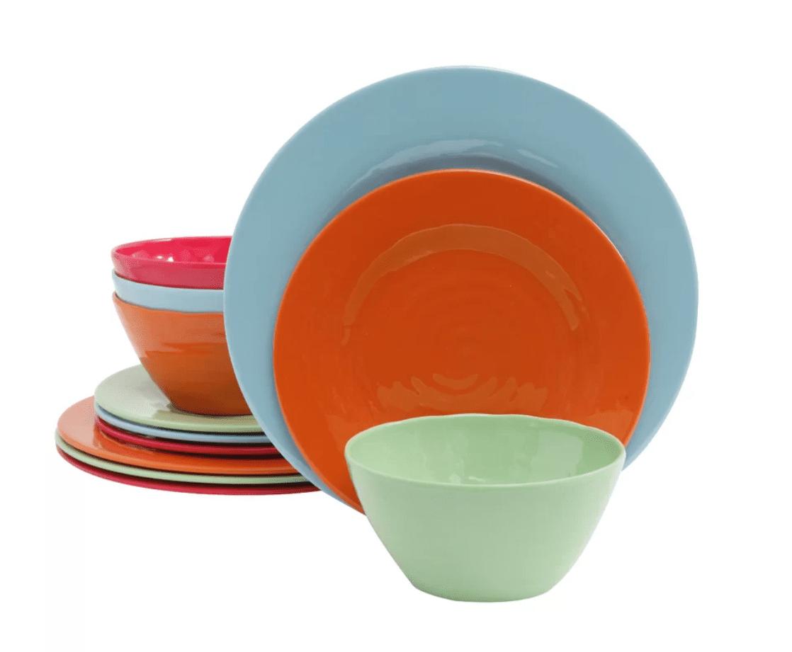 Best outdoor dinnerware set gibson melamine brist 12 piece dinnerware set