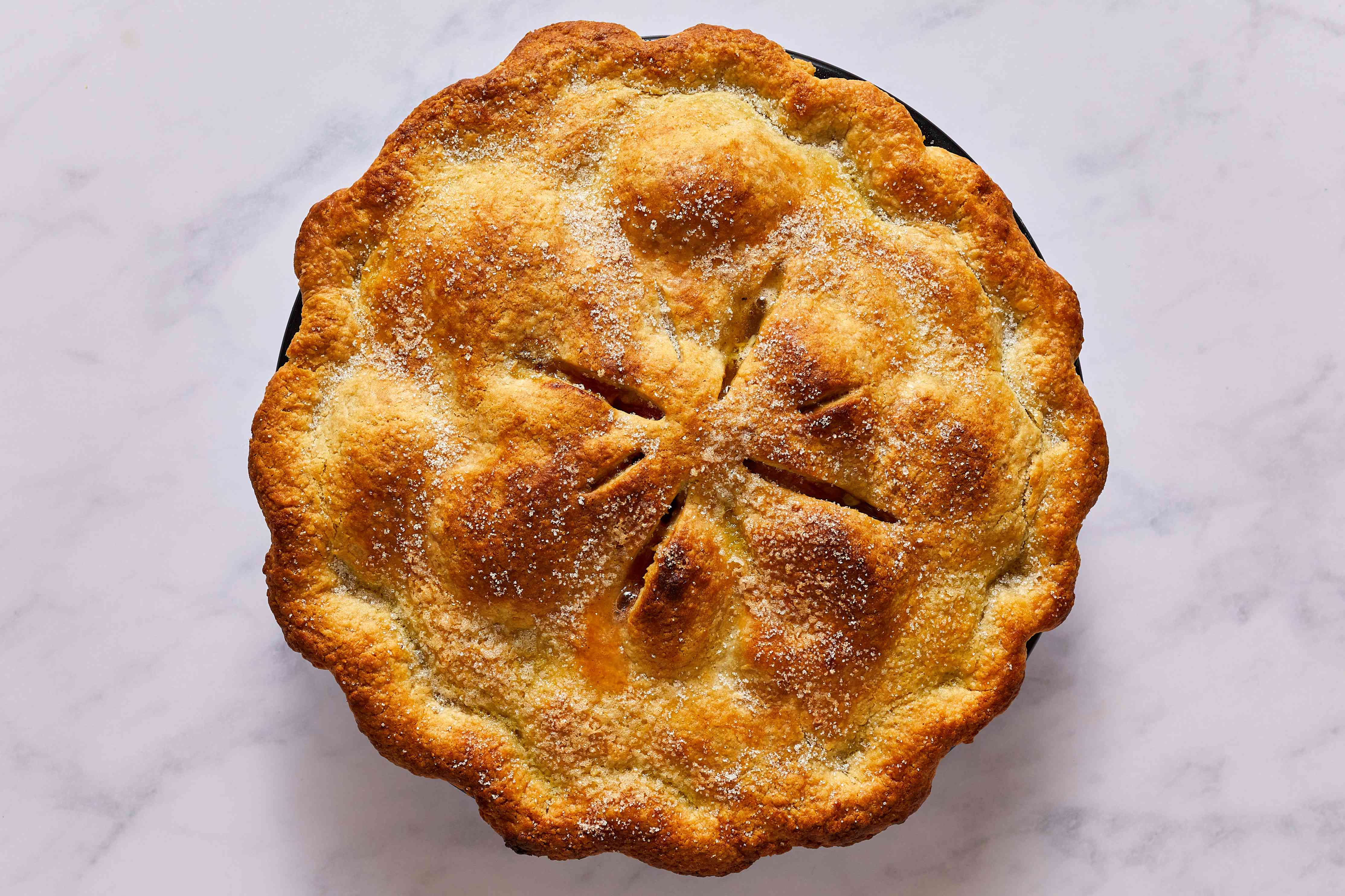 Fresh Apricot Pie sprinkled with sugar