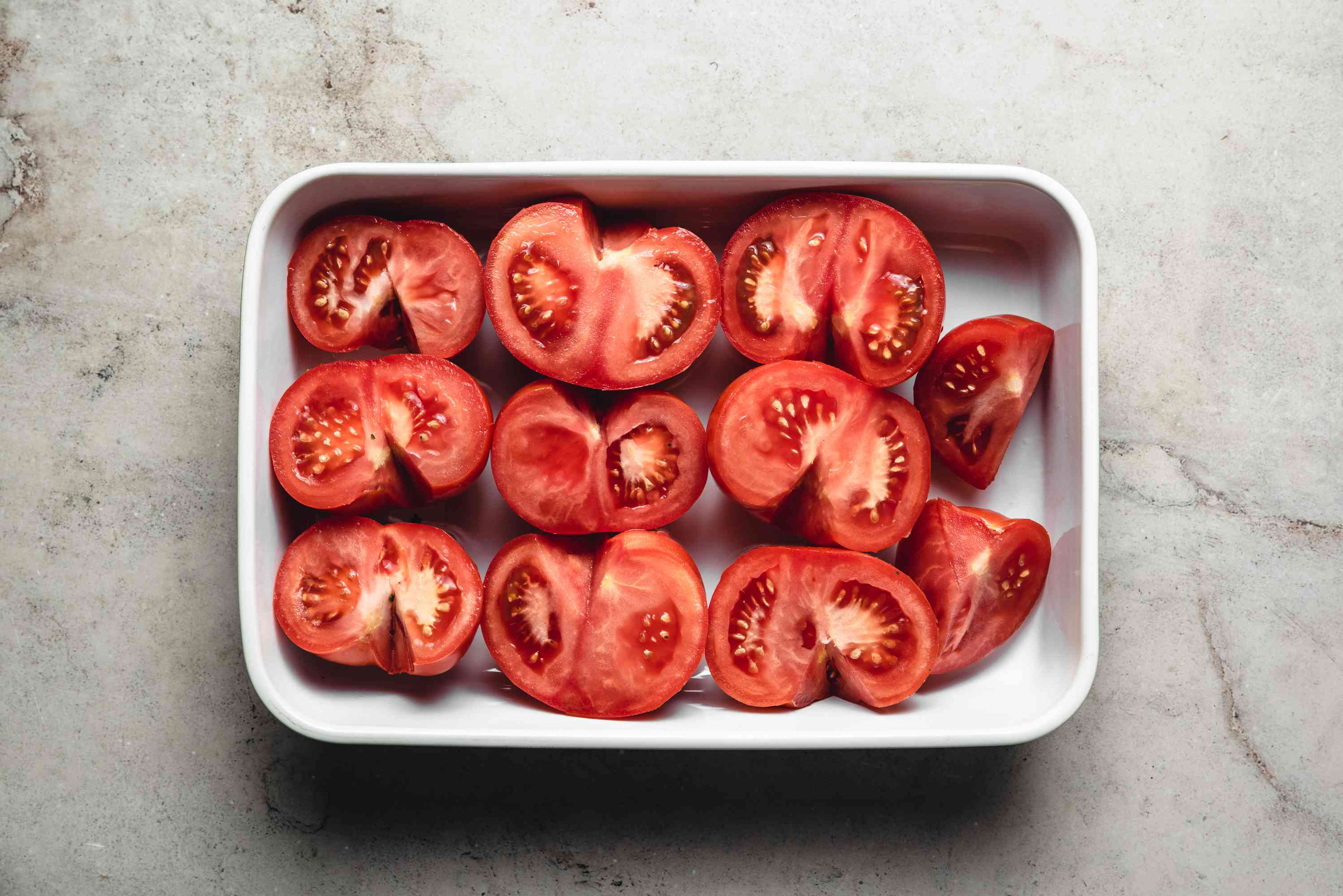 tomatoes in a baking dish