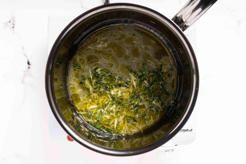 pour marinade into a saucepan.