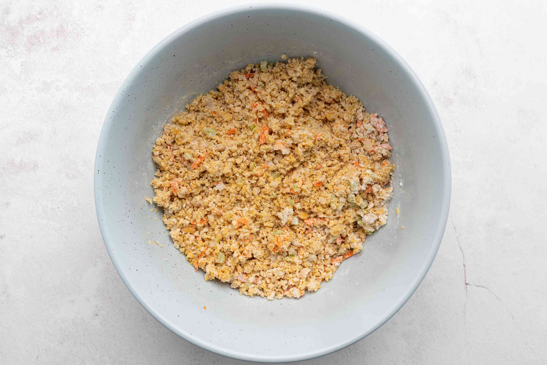 chickpeas, celery, carrot, onion, garlic powder, flour, salt, and pepper in a bowl