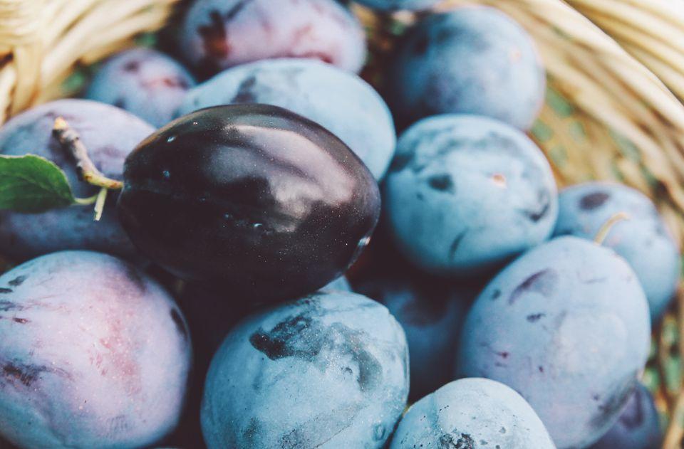 Closeup of dark plums